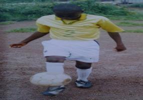 Bertrand my oldest boy juggling a soccer ball